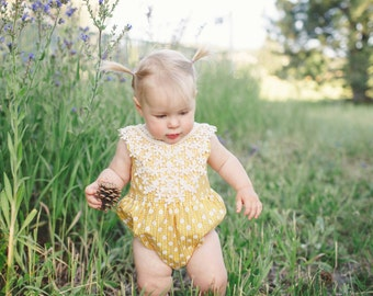 Baby romper/playsuit- Strapless Scoop Back romper- Yellow Lace/Daisy (vintage lace collar/one-of-a-kind) Romper/Playsuit- Size 6/9 months