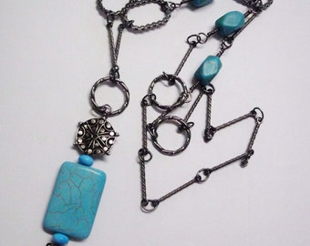 Hand Wired Natural Gemstone Healing Crystal Blue Magnasite Statement Pendant Necklace