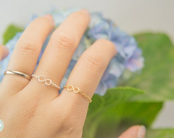Infinity ring, infinity chain ring, tiny ring, cute infinity ring, cute chain ring, tiny infinity ring, infinity charm, infinity