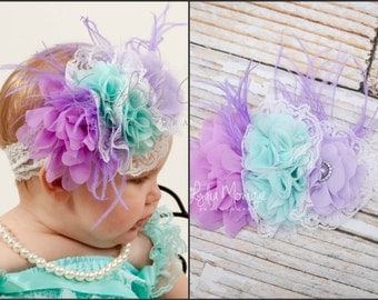 Baby headbands, purple aqua lavender flower headband, baby girl headbands, flower girl, birthday headbands, infant headbands