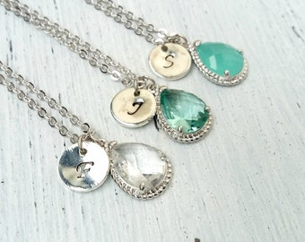 Personalized Bridesmaid Necklace mint green crystal, Bridesmaid gift, Personalized Necklace, Initial Necklace, Bridesmaids Initial Necklace