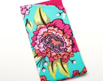 Floral Sunglasses Sleeve, Flower Eyeglasses Holder, Womens Glasses Case  - Magenta Flower - Gift for Her