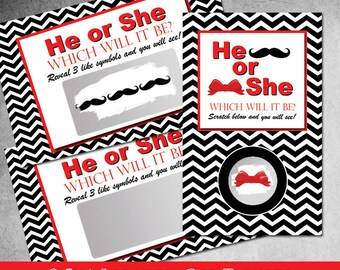 Moustache and Bow Gender Reveal Scratch off Tickets