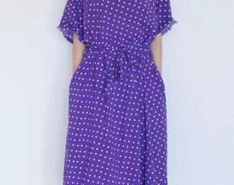 Vintage Purple and White Vintage Polka Dot Midi Swing Dress // Large // XL // 2X // Short Sleeve // Pockets