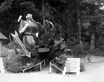 Vintage Photo..Paul Bunyan at Trees of Mystery 1950's, Original Photo, Old Photo Snapshot, Vernacular Photography, American Social History