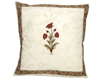 Cushion Cover - BLOCK PRINTED - Rusty Red Flower