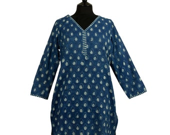 LONG KURTA TOP – All sizes – Style 2 - Denim blue with off white motif - 100% lightweight cotton