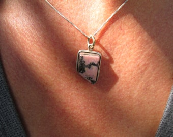 Rhodonite and Sterling Pendant Necklace