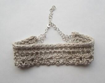Wedding Choker, Bride Choker, Bride Necklace, Boho Wedding Necklace, Silk Yarn, Lace Neck, Chokers, Lace Knitting, Knitted Jewellery, Lacy