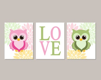 Girl Owl Wall Art, Owl Nursery Art, Owl Nursery Decor, Baby Girl Wall Art, Girl Nursery Decor, Floral Wall Art Set of 3 Prints Or Canvas