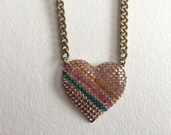 90s pink, yellow and green diamante heart necklace