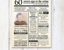 Fun facts 1956 - 60th birthday poster - Custom 60th Birthday Gift for husband dad father or parents 1956 - DIGITAL FILE!