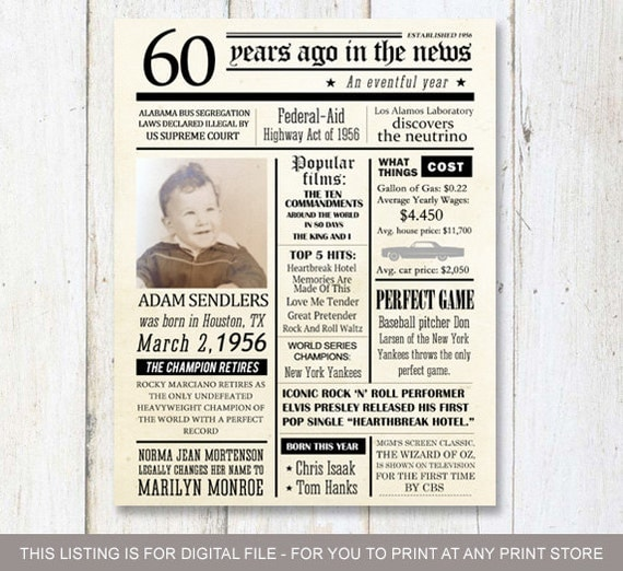 Fun Facts 1956 60th Birthday Poster Custom 60th By