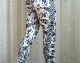 Black and White Leggings, Lace Leggings, Workout Pants, Yoga Tights, Custom Gift for Her