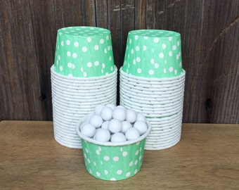 Mint Paper Snack Cups - Set of 48 - Polka Dot Candy Cup - Birthday Party - Mini Ice Cream Cup - Paper Nut Cup - Same Day Shipping