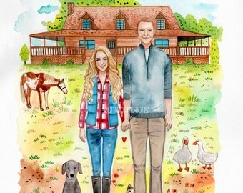 Custom Portrait with house 11x14 inch. couple illustration, wedding illustration, family portrait