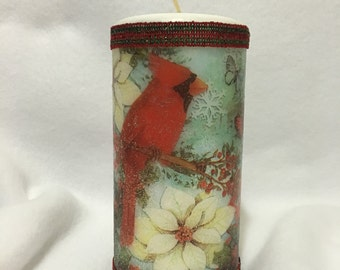 Red Cardinal - Winter Candle - Cardinal Decor - Bird Decor - Woodland Decor - Red Bird - Red and White - Gifts For Mom - Gifts Under 20