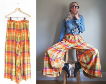 Vintage 70's Plaid Palazzo Pants - High Waisted Wide Leg Pants - Waist 27