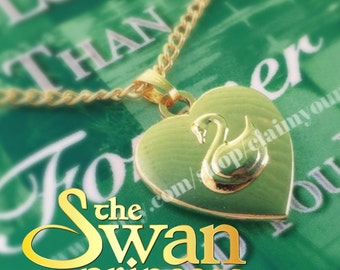 On Sale! The Swan Princess Odette Necklace Charm Heart Swan 1994 Movie Gold Plated 18K Cosplay