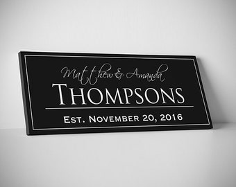 Last Name Sign Family Established Home Signs // Family Established Print // EST Sign // Ready to hang on Wall // Premium Canvas - SALE