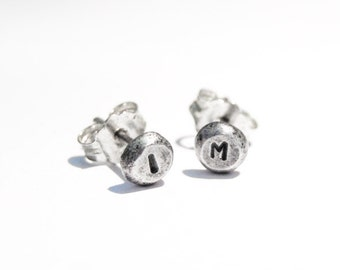 Initial stud earrings, oxidized sterling silver, 4-5mm pebble earrings, handmade ear studs, post earrings, recycled sterling silver