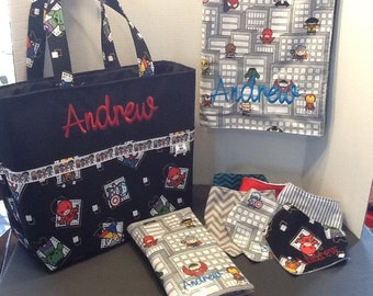 Personalized  extra large diaper bag set bag with lots of pockets made with Marvel a Avengers fabric fabric