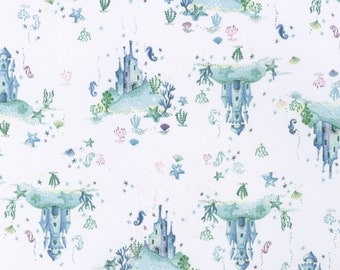 Underwater Castle Fabric - Aquatic Life by Dear Stella - 499 White/Blue - Priced by the half Yard