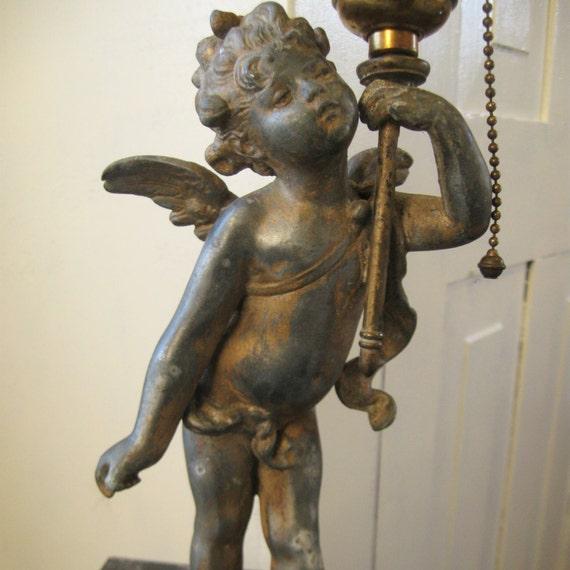 Antique French Bronze Spelter Cherub Angel Lamp Putti By