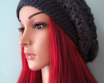 CROCHET PATTERN - Puff Stitch Patterned Slouchy Adult Hat