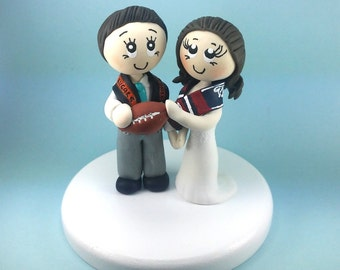 Wedding cake topper, football wedding cake topper