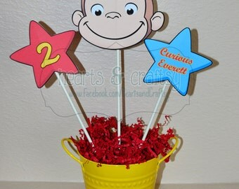 Curious George Centerpiece Cutouts PERSONALIZED / Curious George Party Cake Topper - Print Your Own File to PRINT DIY