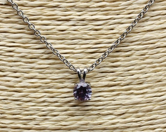 Lab Alexandrite Pendant Necklace - in 4mm, 5mm, 6mm, 7mm - Available in white gold or titanium