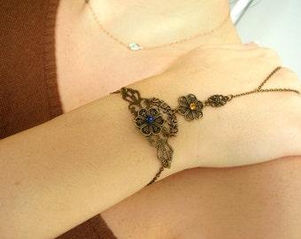 Slave bracelet ring Hand chain Hand piece Hand chain Slave ring bracelet Brass slave ring Boho ring Boho bracelet Boho jewelry