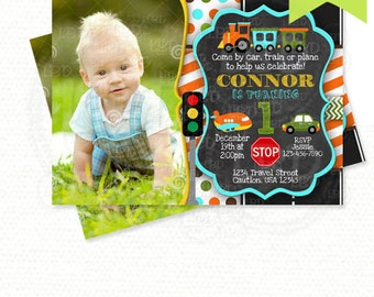 Transportation Birthday Invitation - Transportation Party - Car, Plane Train Party - Any Age -Style 1 - YOU PRINT