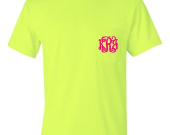 Neon Green Monogrammed Pocketed Tees/Monogrammed Pocket Tees/Monogrammed Tees
