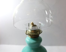 1980 Kaadan LTD Hurricane Kerosene / Oil Lamp Reversed Painted Glass Teal Color with Mushroom Glass Chimney