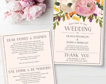 Folded Wedding Program Template - Sweet Blooms Wedding Program - Editable Wedding Program - DIY Folded Program - Instant Download