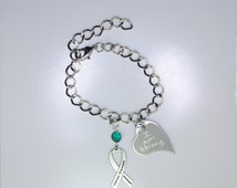 Personalized Celiac Disease Awareness Ribbon Bracelet - Celiac Support Jewelry - Heart Charm with Your Personalized Message