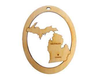 Michigan Ornament - Michigan State Ornament - Michigan Gift - Michigan Ornaments - Michigan Decor - Michigan Souvenirs - Personalized Free