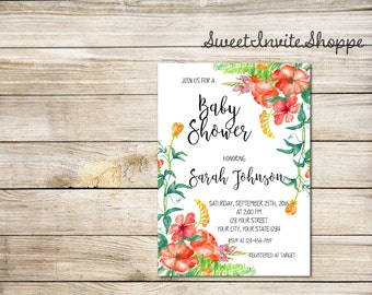 Watercolor Floral Baby Shower Invitation, Boho Flowers Invitation, Red Flowers Baby Shower Invitation, Rustic Floral Invitation, DIY