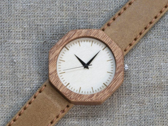 African Sapele wood watch , Majestic Watch,  Sandy Genuine Leather strap + Any Engraving / Gift Box. Anniversary  gift