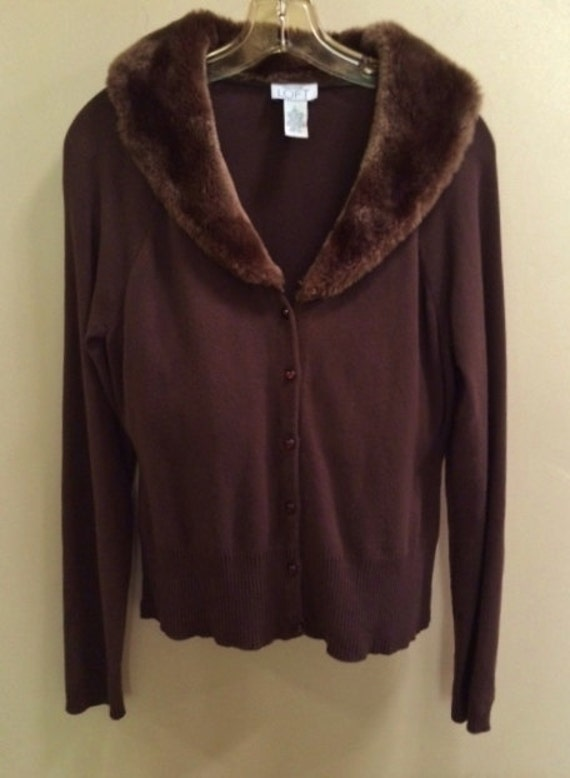 Chocolate Brown Brown Sweater Faux Fur Collar Ann Taylor