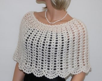 Knit to Order.  Crochet Mohair ivory wedding bridal shrug shawl wrap, bridesmaid shrug capelet poncho,  wedding accessories. Size S - XL