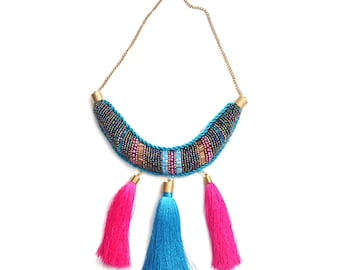 Pink and blue necklace - Statement jewelry - Tassel necklace - Embroidery - Collar necklace - Eclectic jewelry - Elegant necklace - Bohemian