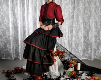 Victorian Blouse, Steampunk Blouse, Lolita Blouse, Vampire Red Shirt, Steampunk Shirt, Gothic Top, Goth Blouse, Cotton Shirt, Puffed Sleeve