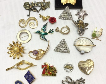 Brooch,brooches,Lot, 22 Vintage Brooches, Pins, Birds, Angels, Flowers