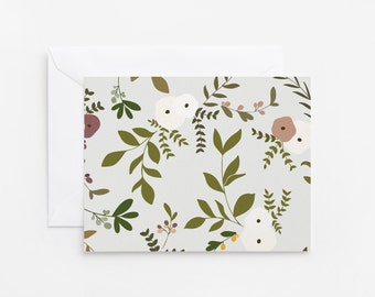 Floral Notecard Set of 8 | Folded Illustrated Notecards with Botanical Pattern: Wild Garden Collection