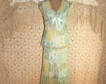 Silk Dress Large Romantic Dress Boho Dress Empire Waist Mint Green Yellow 2 Piece Print Dress Size 12 Dress Size 14 Dress Womens Clothing