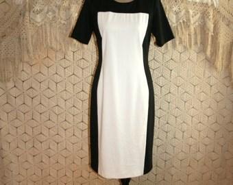Black White Colorblock Dress Color Block Day Dress Midi Womens Dresses Short Sleeve Dress Fitted Small Medium Womens Clothing