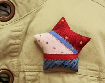 Patriotic Quilted Large Star Brooches
